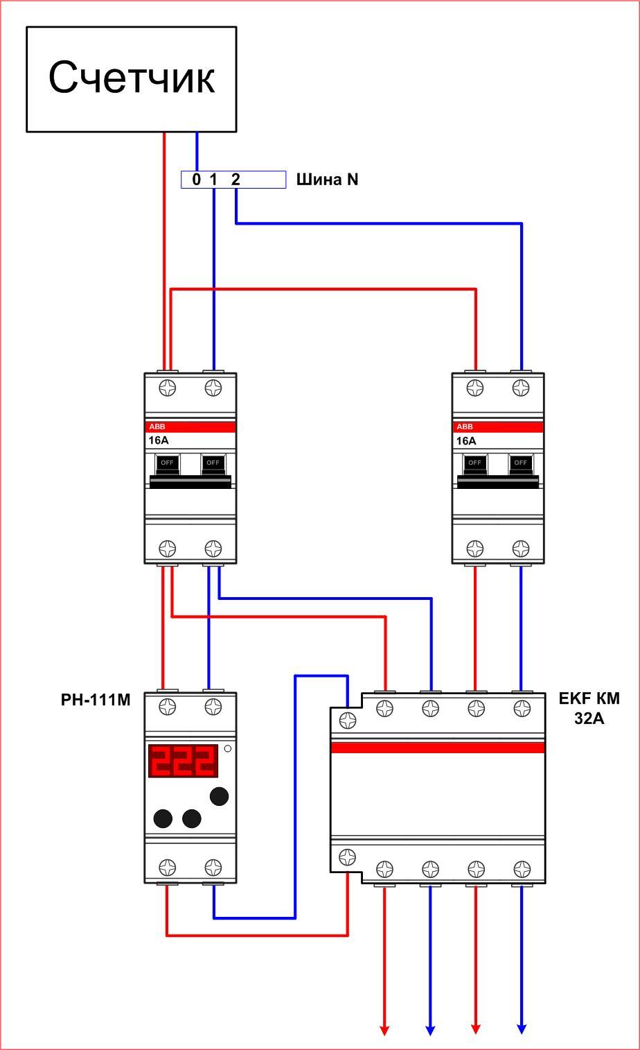 Трехфазная схема пускателя с тепловым реле