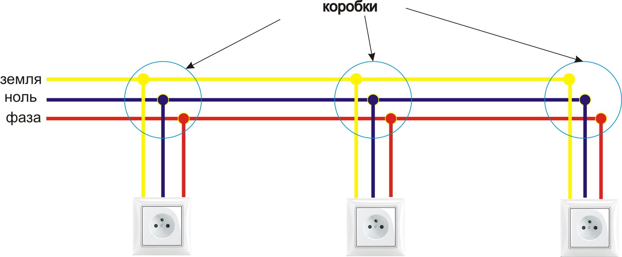Схема включения выключателя от розетки