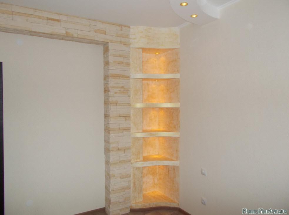 Фото как сделать полки на стене из гипсокартона