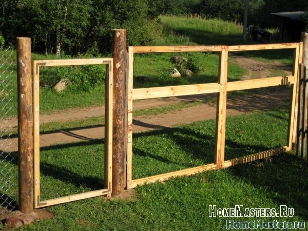 Построить ворота для дачи своими руками
