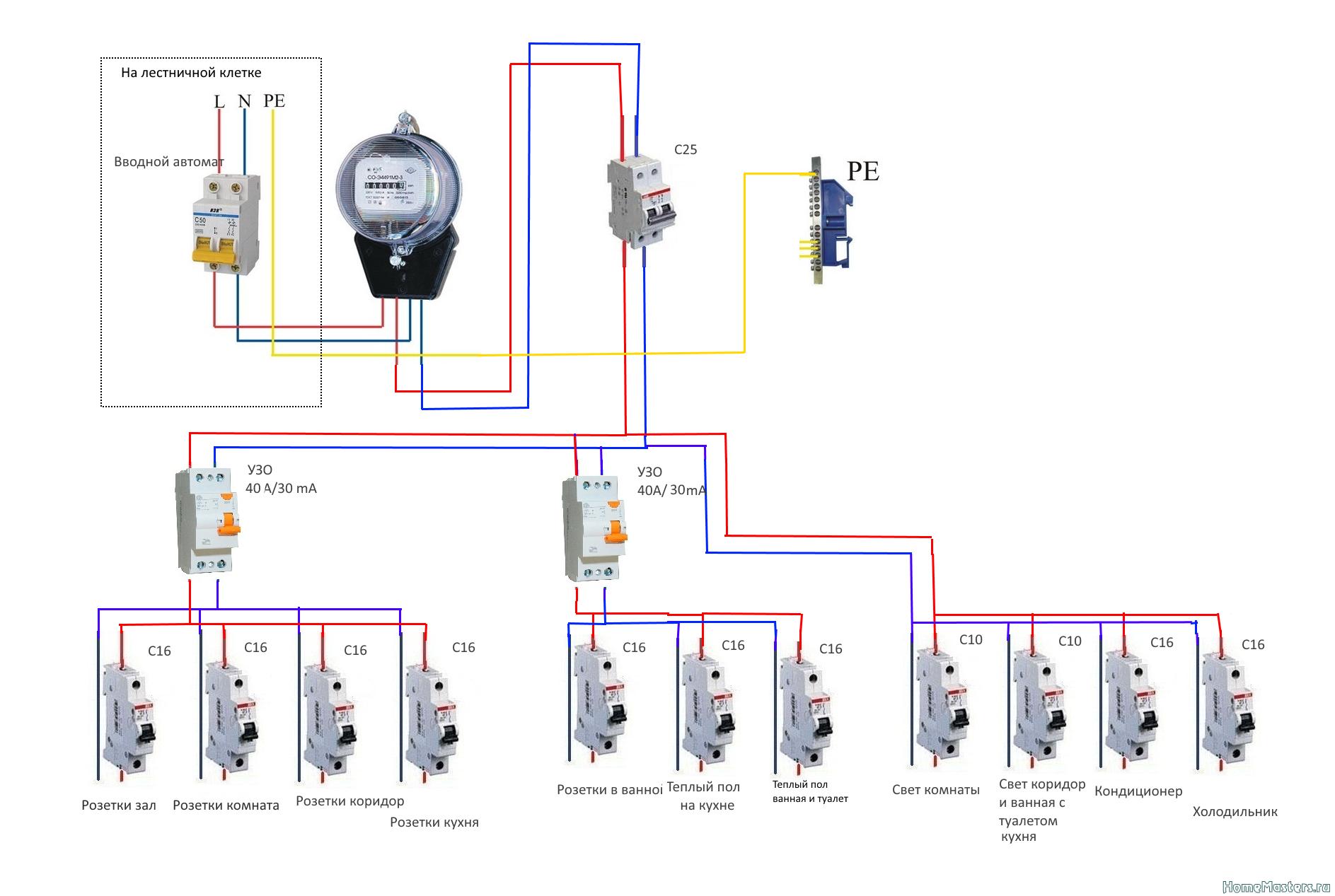 Однофазный индукционный счетчик схема подключения