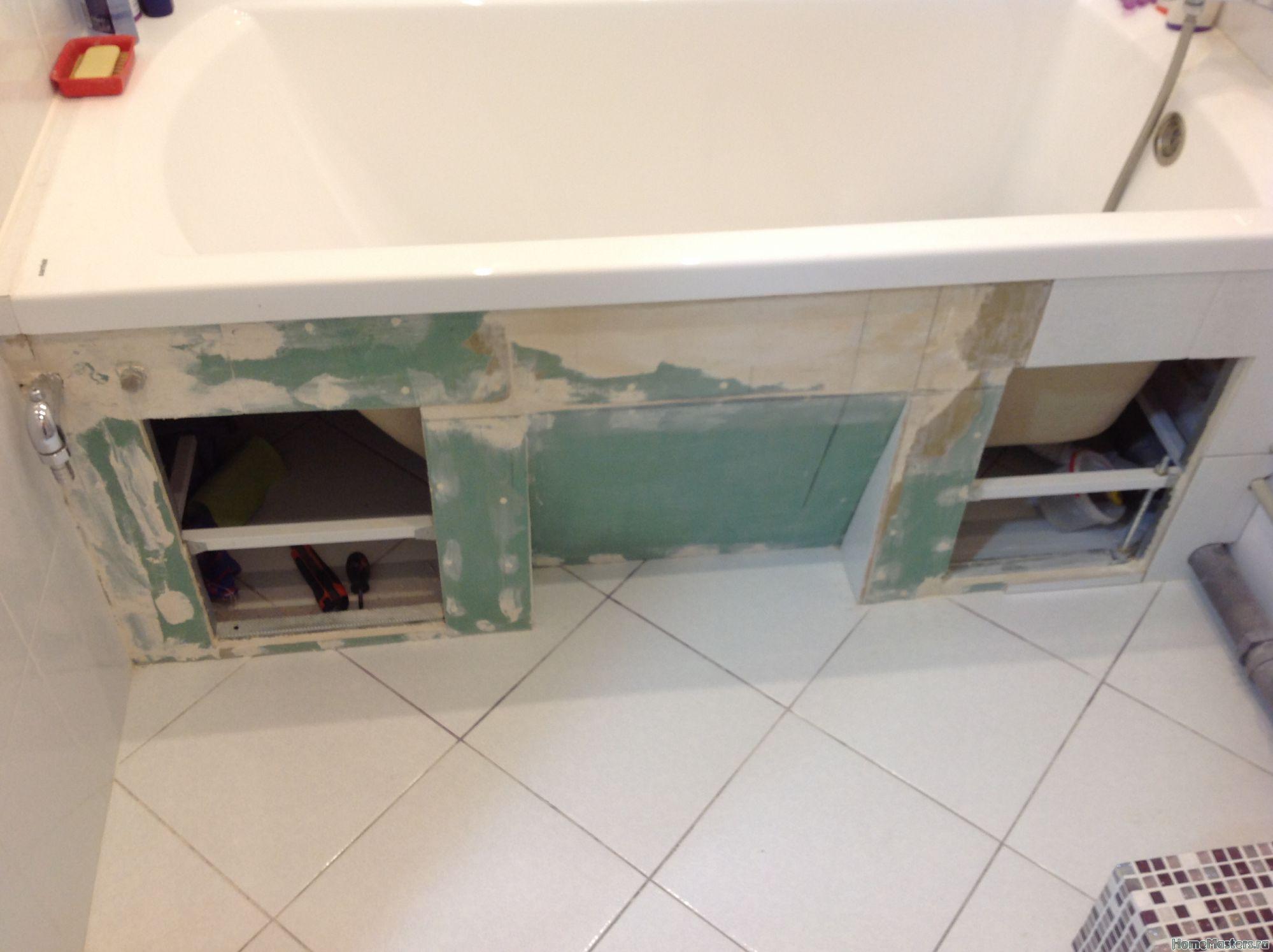 Экран под ванну из плитки: способы, инструкция по устройству 61