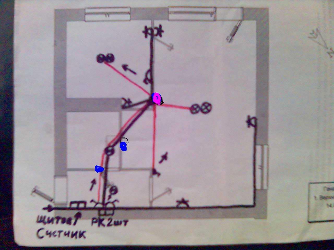 Схема электропроводки в двухкомнатной хрущевке фото