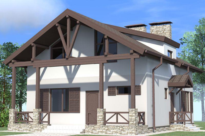 Фасад дома стиль шале фото