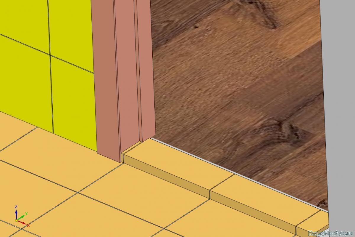 схема стыка соединение плиткой и ламинатом