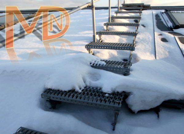 Лестница перфорированная для крыши с перекладиной