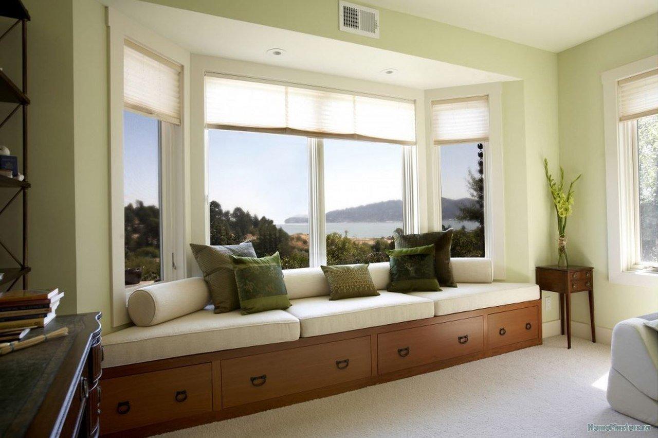 Эркерные диваны в интерьере - в чем их особенность и преимущ.
