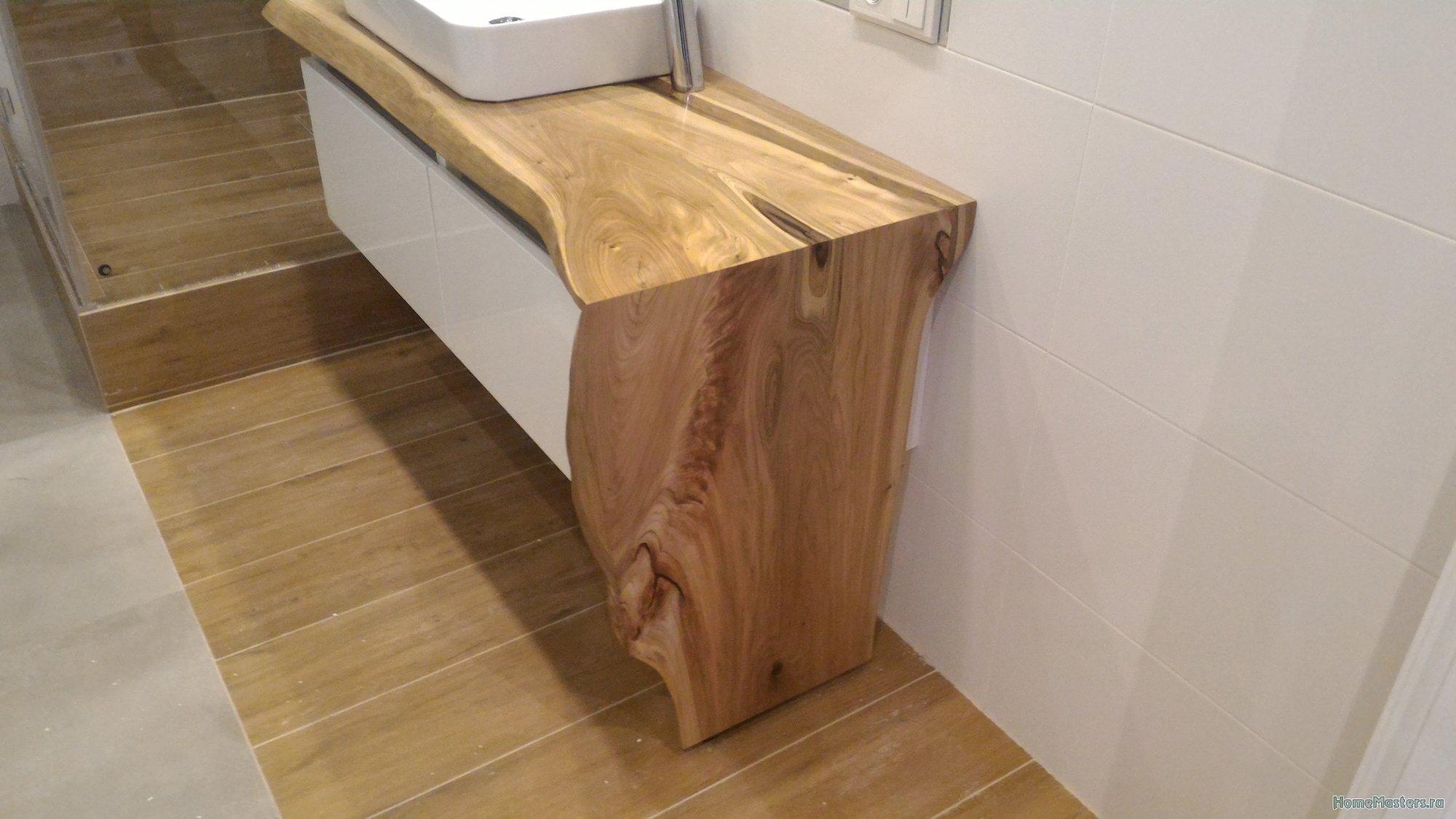 Стол консоль в ванную. Монтаж и результат